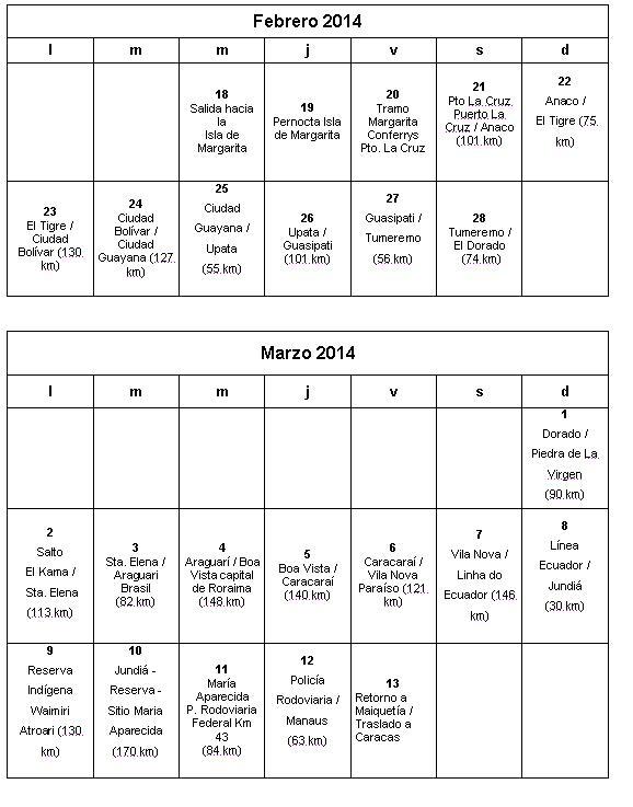 Calendario RUTA MM20015