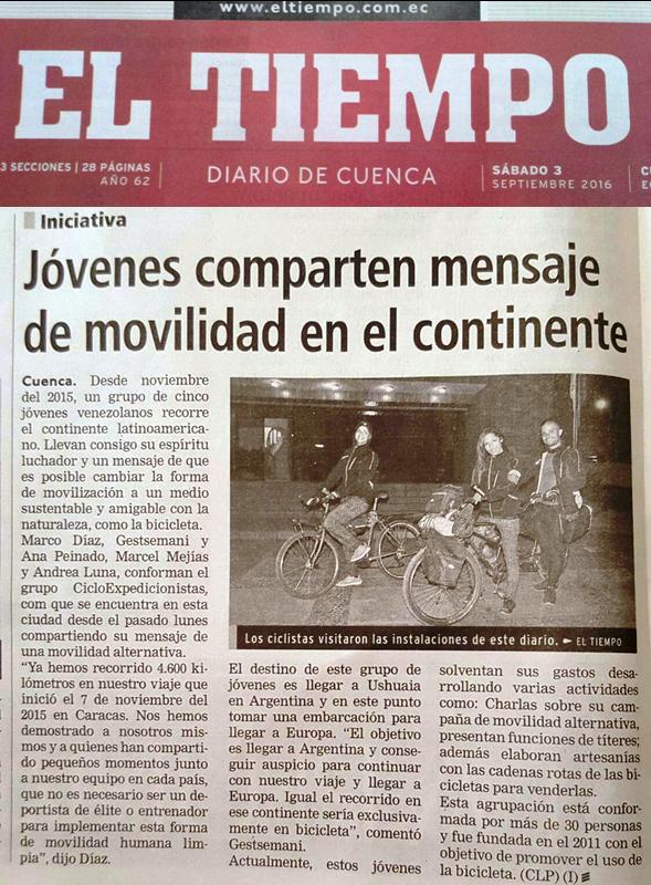 REPORTAJE - EL TIEMPO - cicloexpedicionistas - venezolanos bicicleta - america  - europa - asia